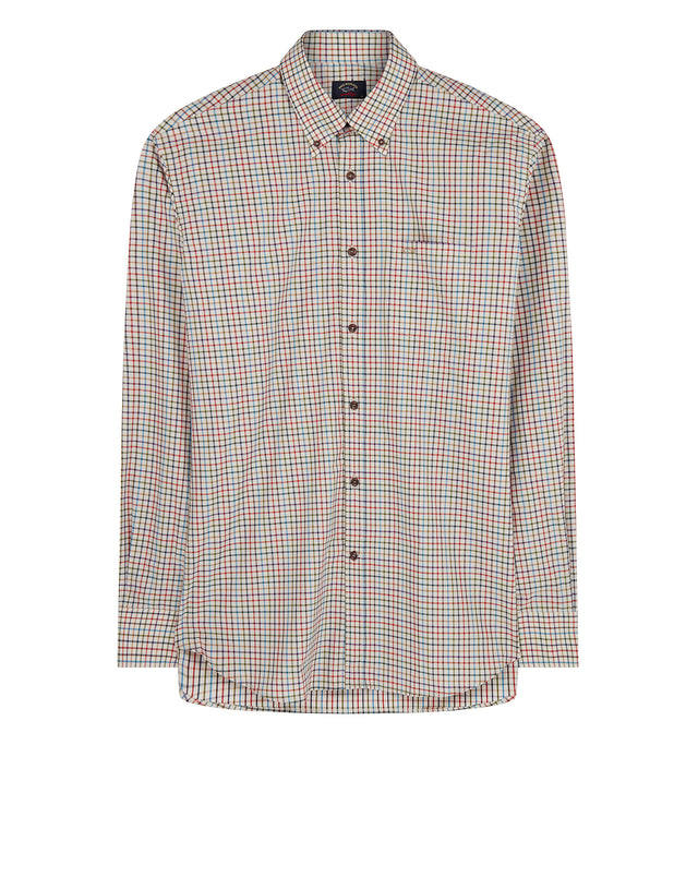 Button-Down Check Shirt in Red Brick