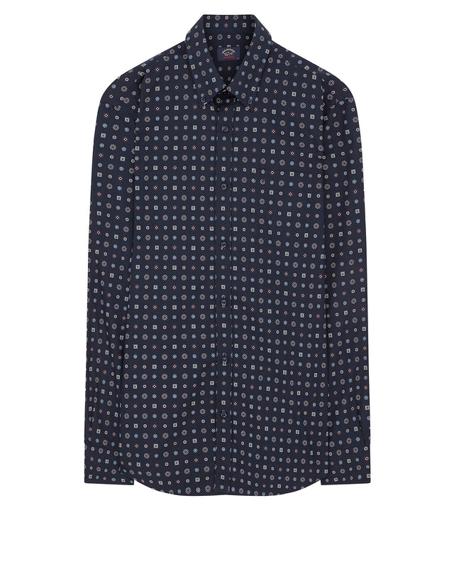 Button-Down Repeat Pattern Shirt in Blue
