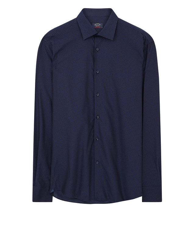 Paul and Shark Jacquard Lettering Shirt in Navy