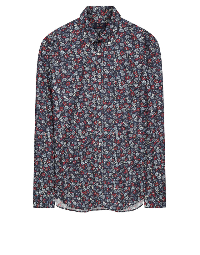 Long Sleeve Floral Shirt in Blue