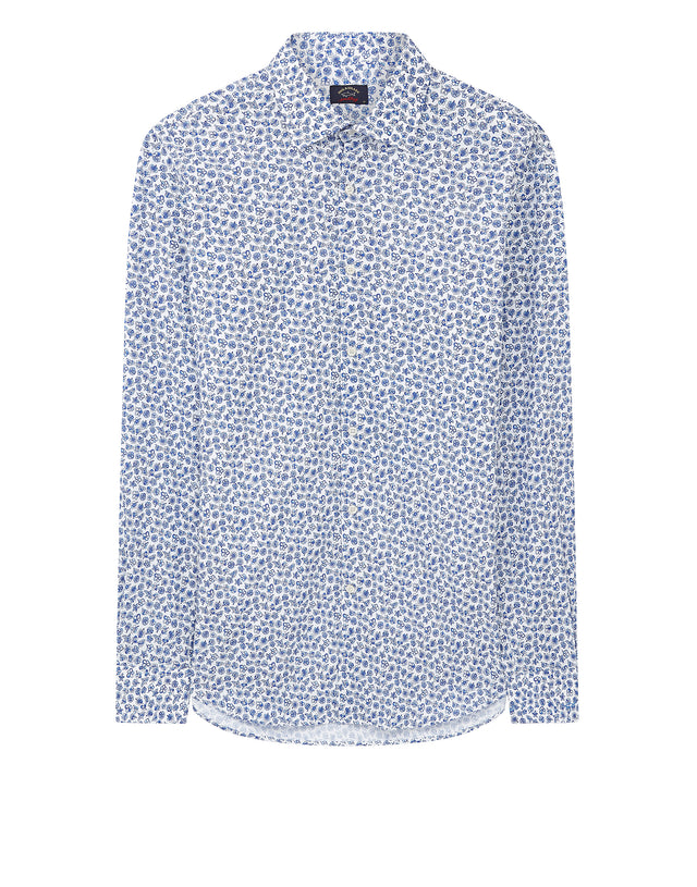 Long Sleeve Floral Shirt in Cadet Blue