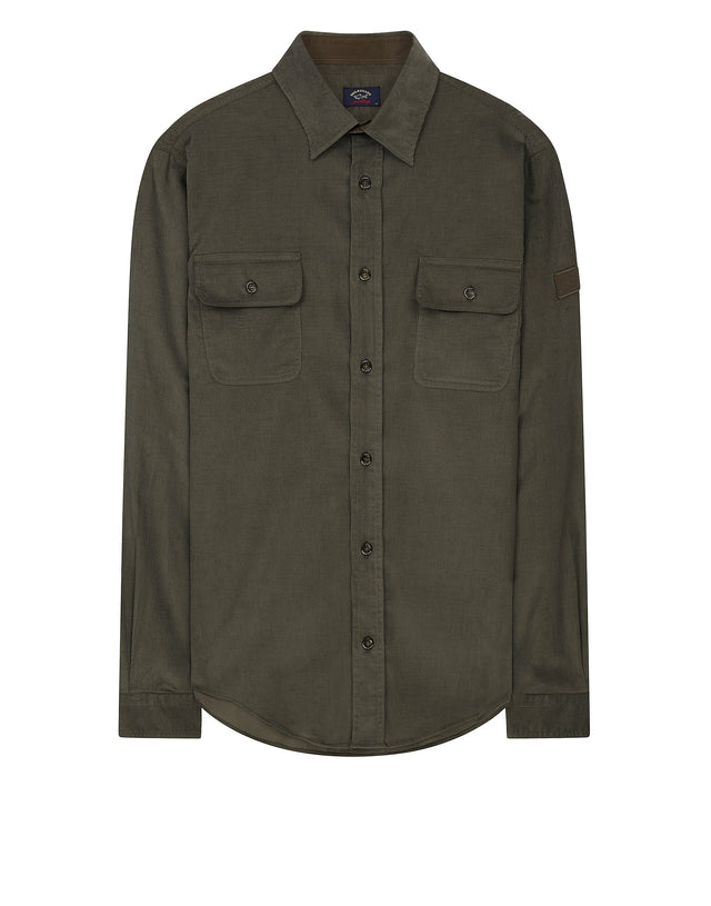 Corduroy Shirt in Military Green