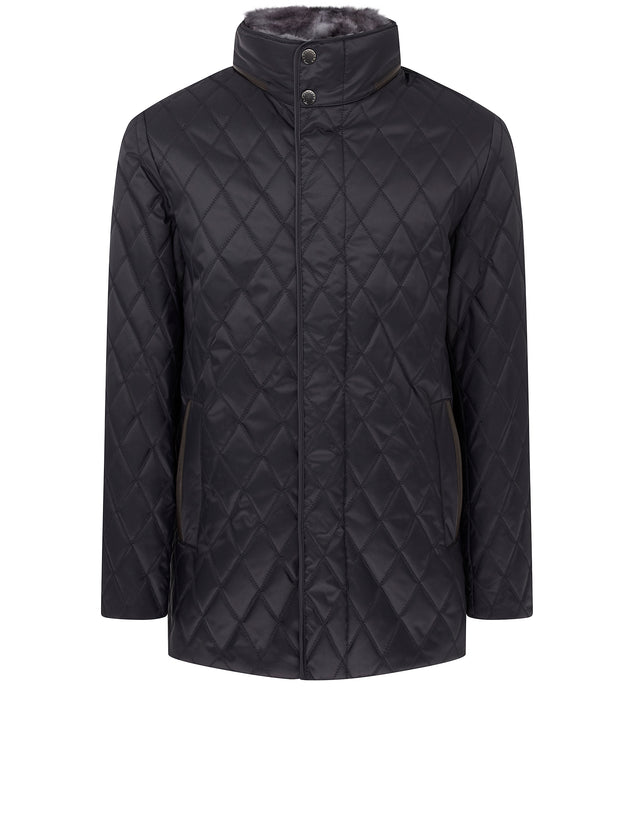 Quilted Fur Lined Jacket in Blue