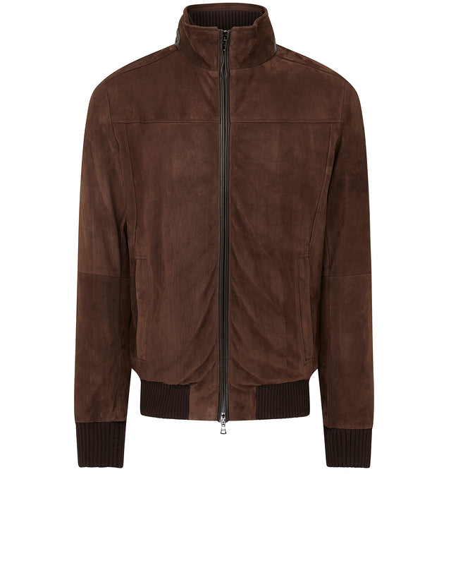 Aqua Leather Zip Jacket in Brown