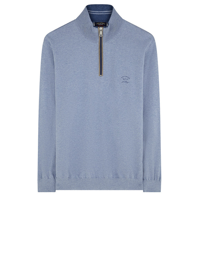 Quarter-Zip Tonal Knit Check Sweater in Light Blue