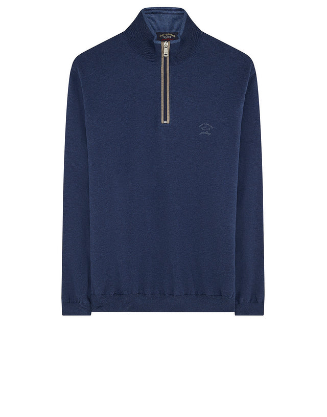 Quarter-Zip Tonal Knit Check Sweater in Cadet Blue