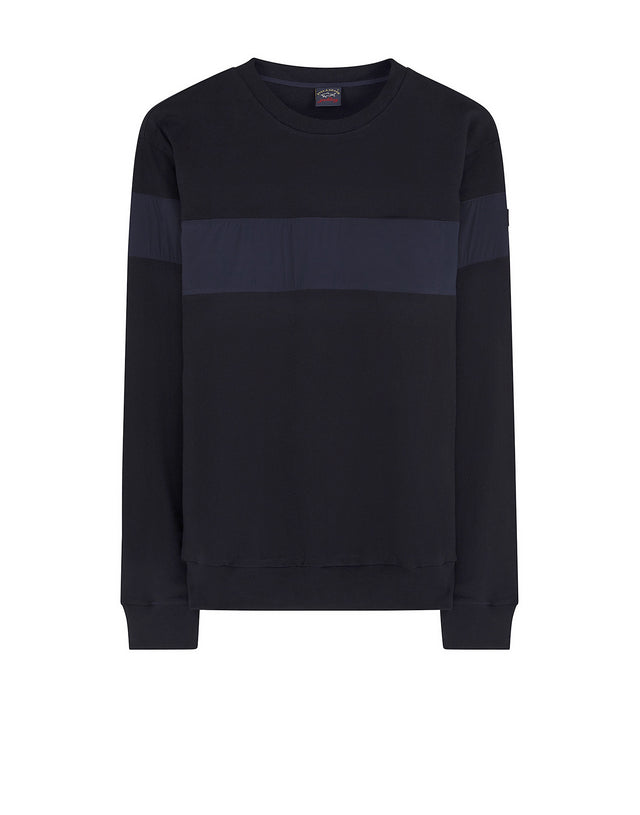 Crew Neck Block Sweatshirt in Navy