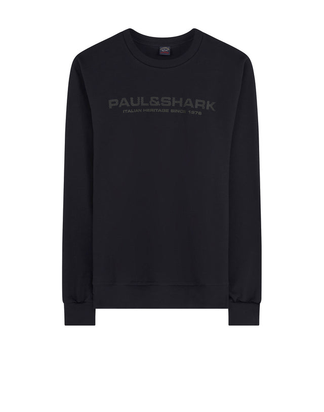 Crew Neck Branding Logo Sweatshirt in Navy