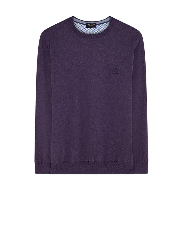 Crew Neck Check Sweatshirt in Dark Violet