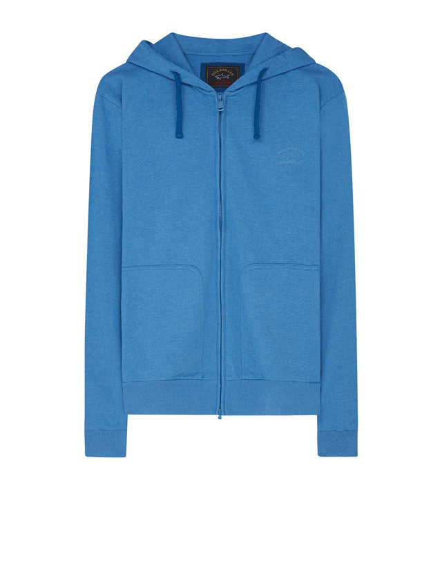 Full-Zip Hooded Sweatshirt in Cobalt Blue