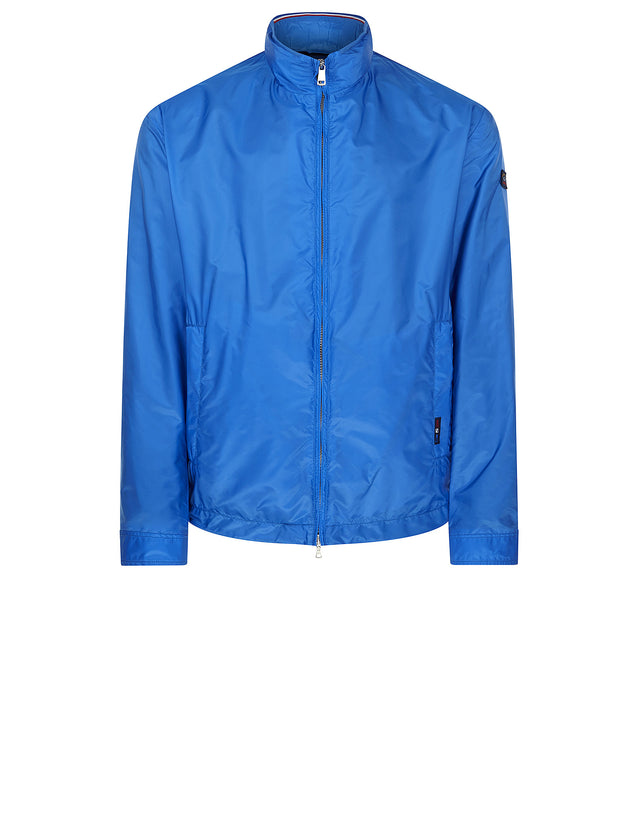 Hooded Nylon Track Jacket in Cobalt Blue