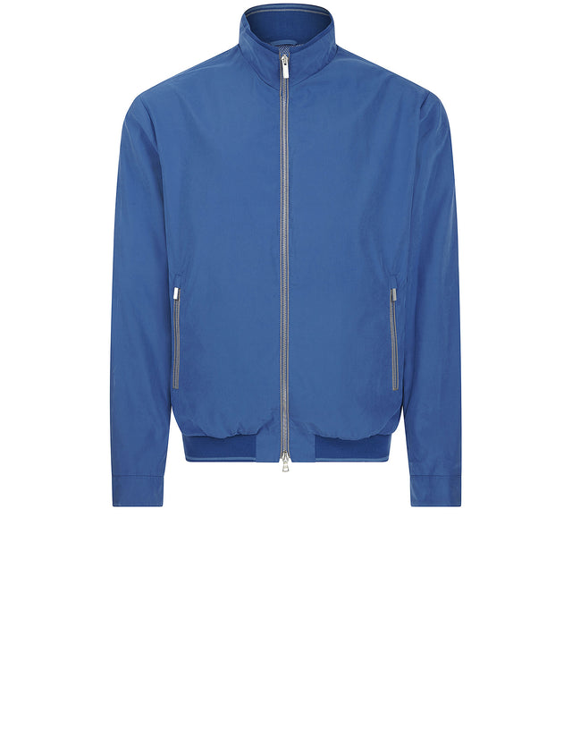 Zip Pockets Harrington Jacket in Blue