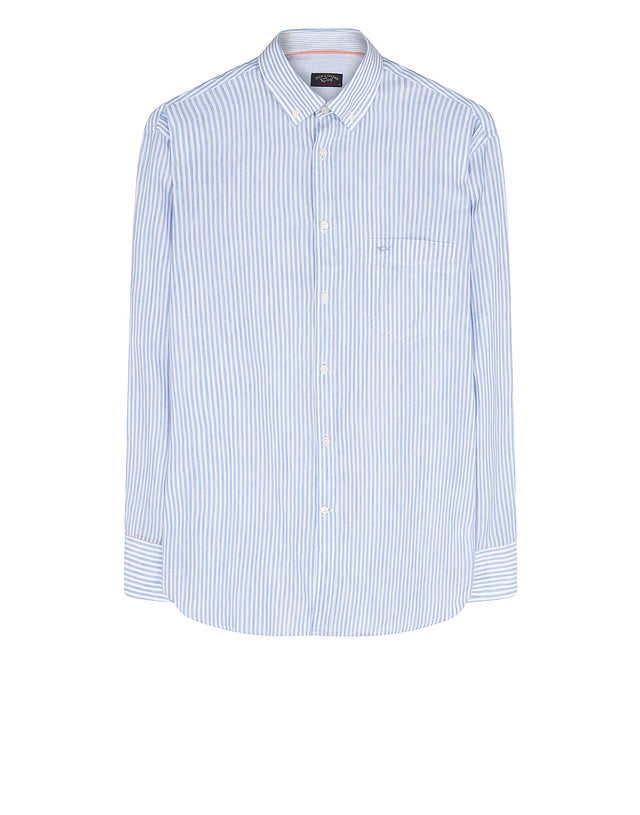 Long Sleeve Striped Linen Shirt in Light Blue