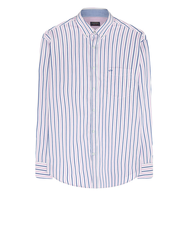 Long Sleeve Stripe Cotton Shirt in Multi