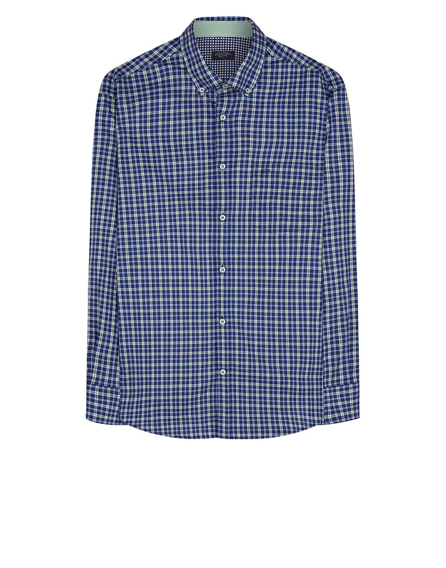 Long Sleeve Check Cotton Shirt in Multi