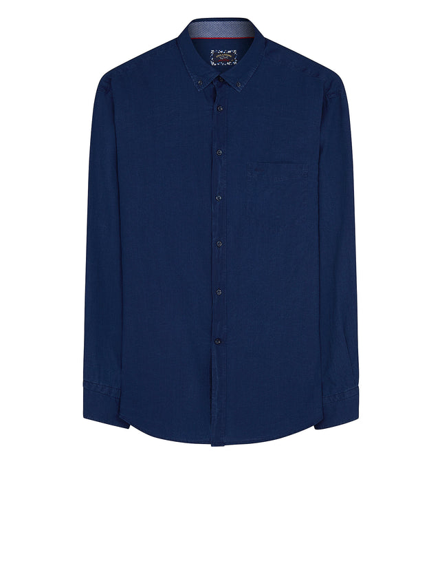 Long Sleeve Solid Oxford Cotton Shirt in Dark Blue