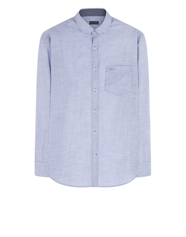 Long Sleeve Woven Cotton Shirt in Grey