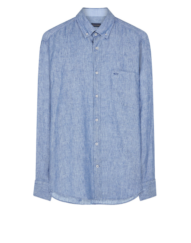 Long Sleeve Woven Cotton Shirt in Blue
