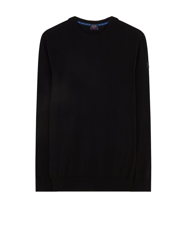 Knitted Crewneck Sweater in Black