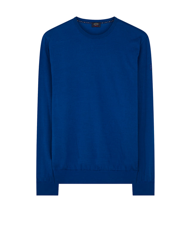 Knitted Crewneck Sweater in Cobalt Blue