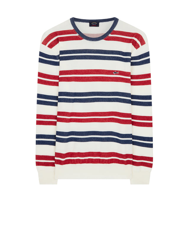Knitted Crewneck Stripe Sweater in Multi