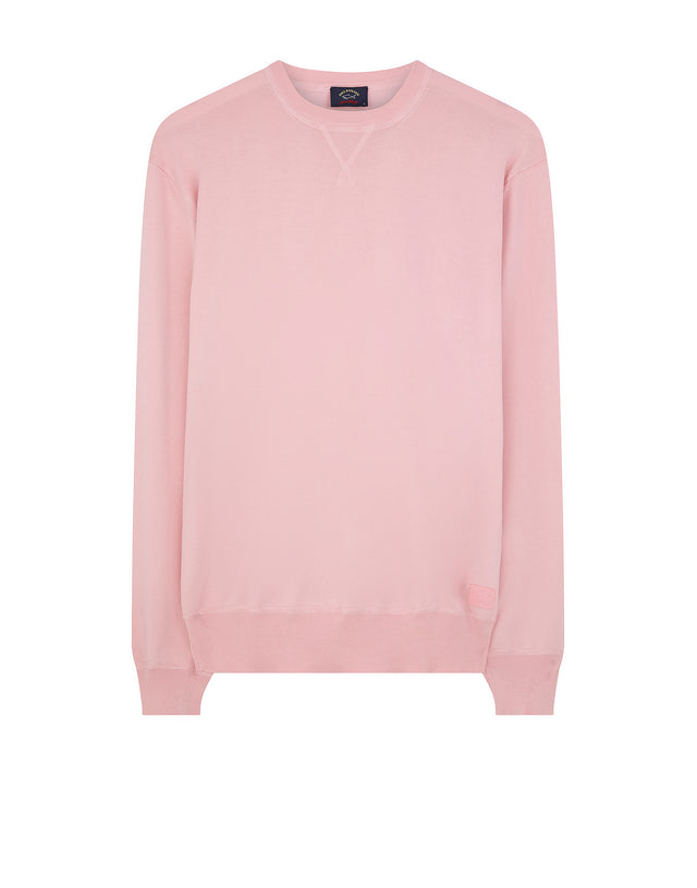 Knitted Crewneck V-Stitch Sweater in Pink