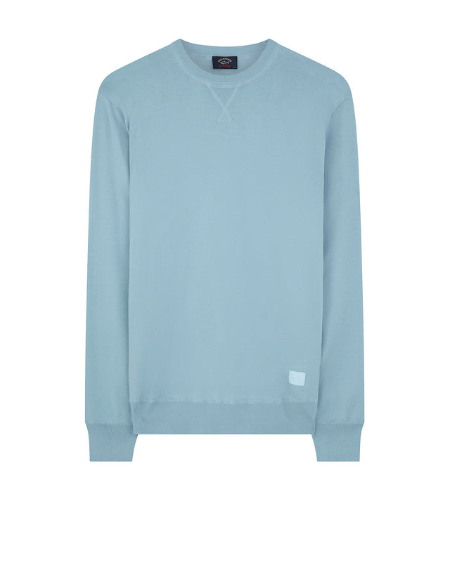 Knitted Crewneck V-Stitch Sweater in Light Blue