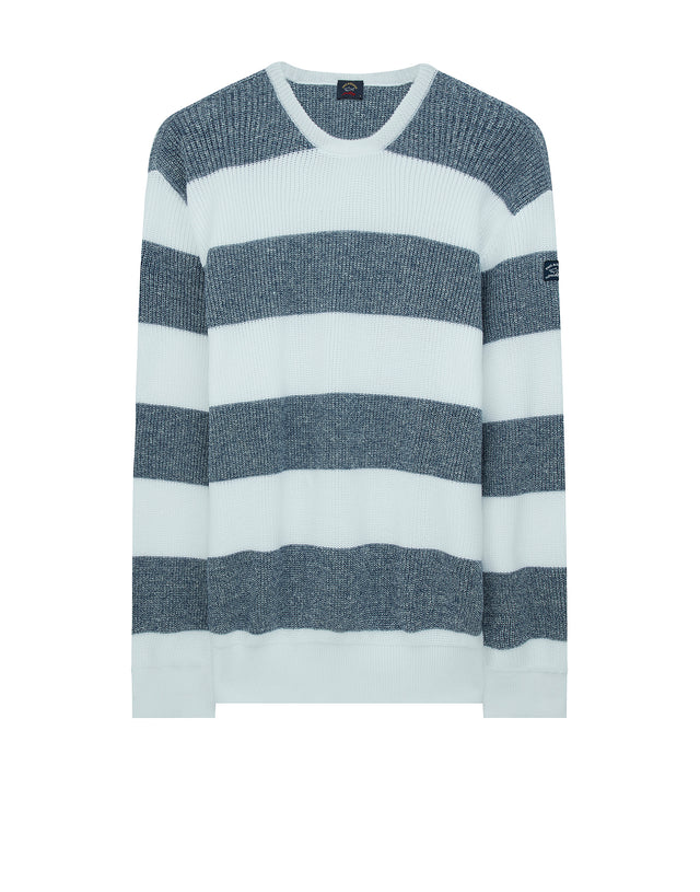 Flecked Stripe Sweatshirt in Grey/White