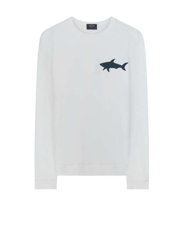 Shark Print Crewneck Sweatshirt in White