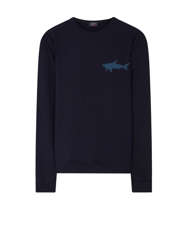 Shark Print Crewneck Sweatshirt in Navy