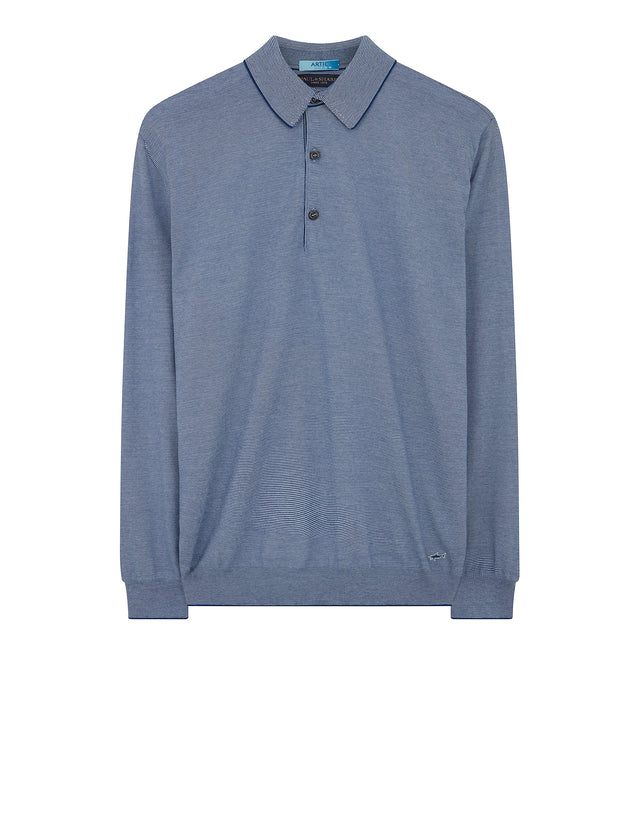Long Sleeve Arctic Cotton Polo Shirt in Blue