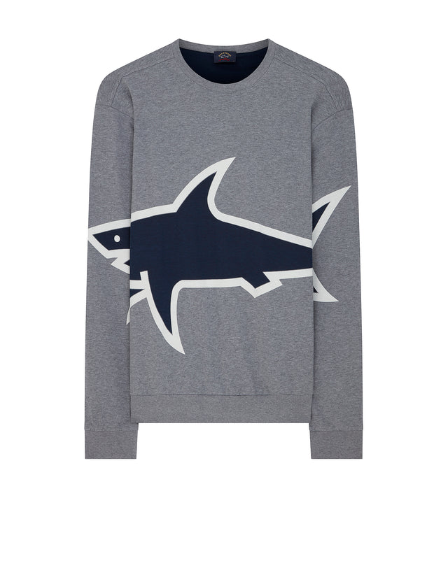 Large Shark Print Crewneck Sweatshirt in Grey