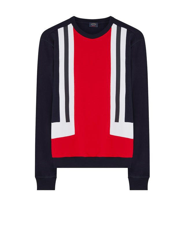 Colour Block Crew Jumper in Blue