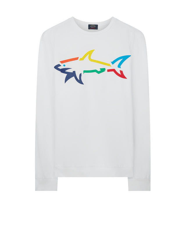 Rainbow Shark Sweatshirt in White