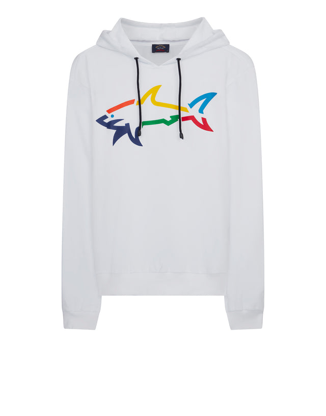 Rainbow Shark Hooded Sweatshirt in White