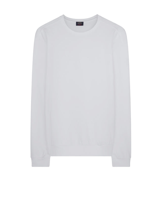 Cotton Crewneck Sweatshirt in White
