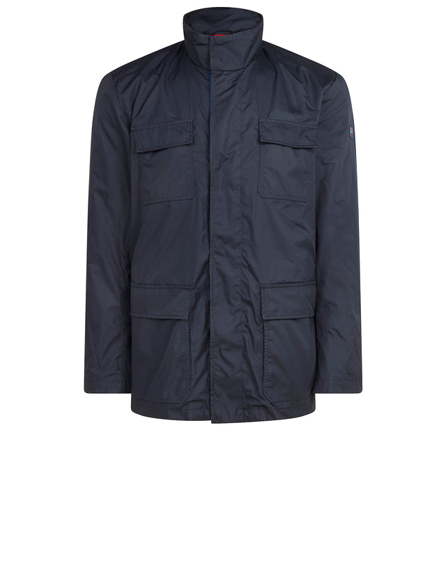 Mid Length Four Pocket Jacket in Blue