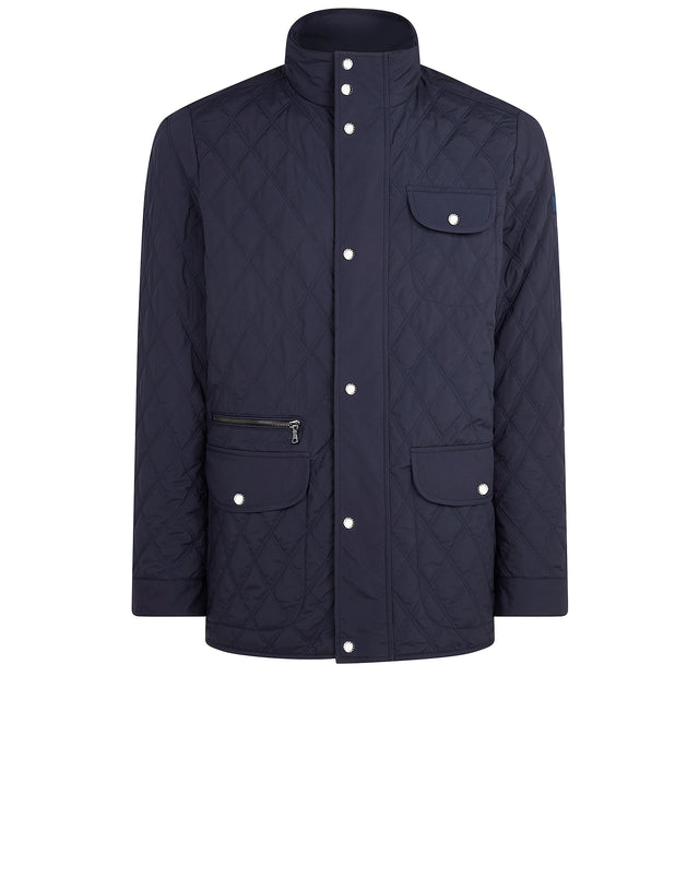 Quilted Stand Collar Jacket in Blue