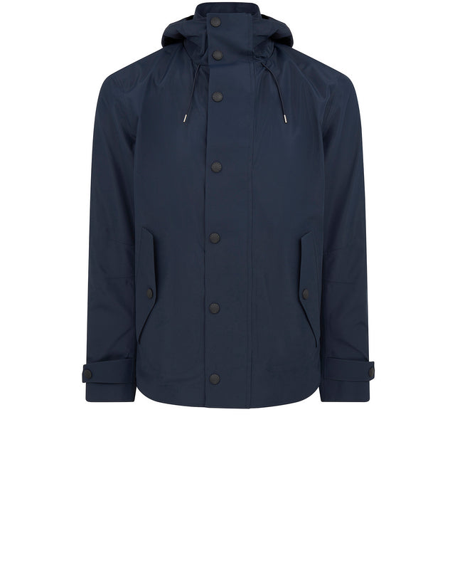 Mid Length Typhoon Hooded Jacket in Navy Blue