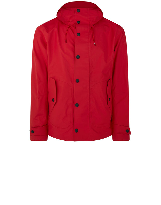 Mid Length Typhoon Hooded Jacket in Red