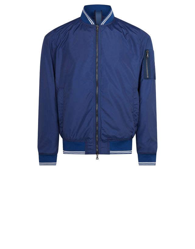 Contrast Trim Bomber Jacket in Cobalt Blue
