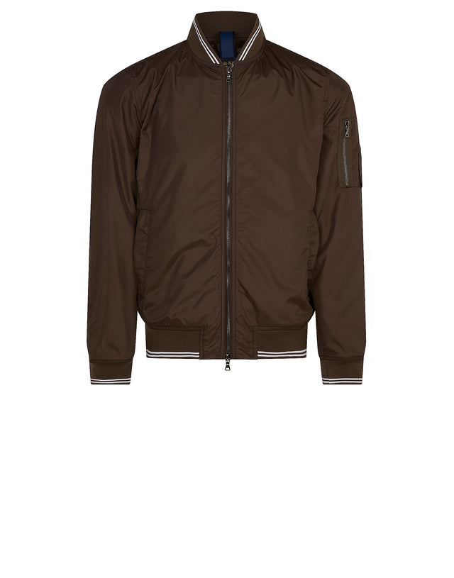 Contrast Trim Bomber Jacket in Military Green