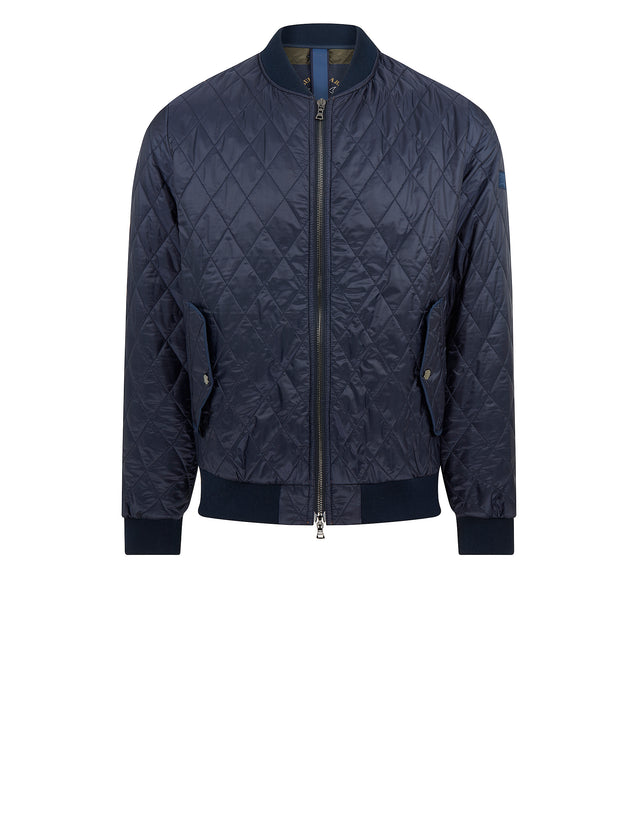 Diamond Quilted Nylon Bomber Jacket in Navy