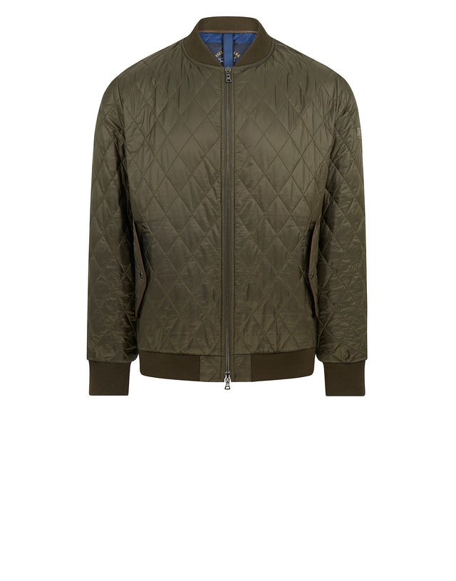 Diamond Quilted Nylon Bomber Jacket in Green