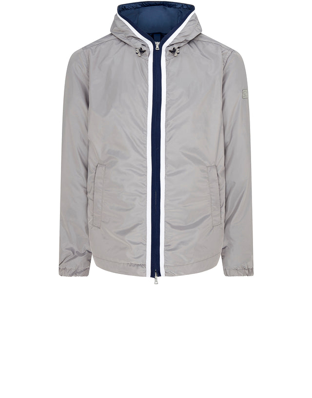 Hooded Nylon Rain Jacket in Grey