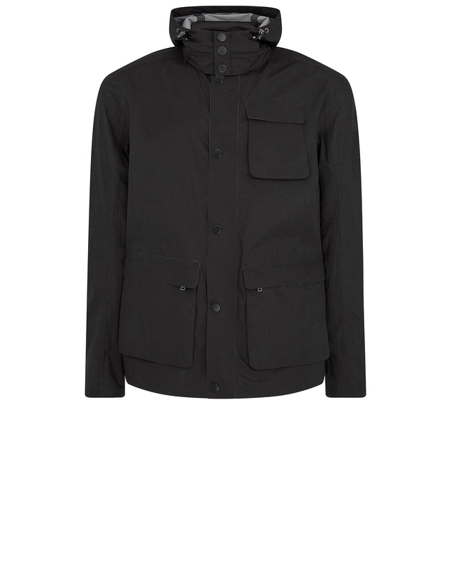 Typhoon Three Pocket Hooded Jacket in Black