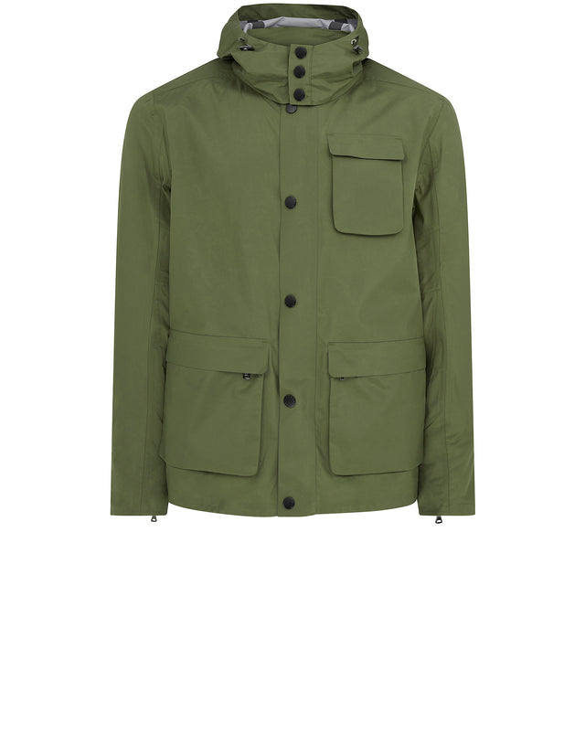 Typhoon Three Pocket Hooded Jacket in Military Green
