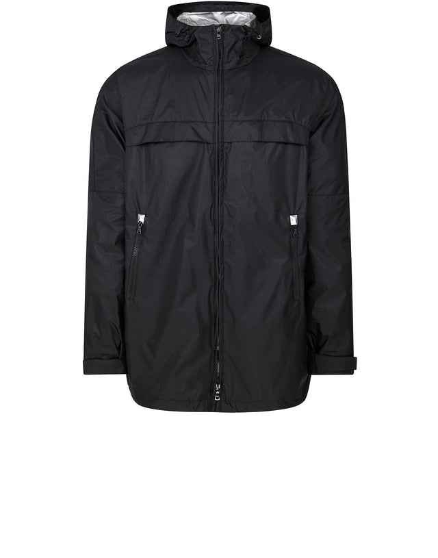 Three Quarter Hooded Skipper Jacket in Black