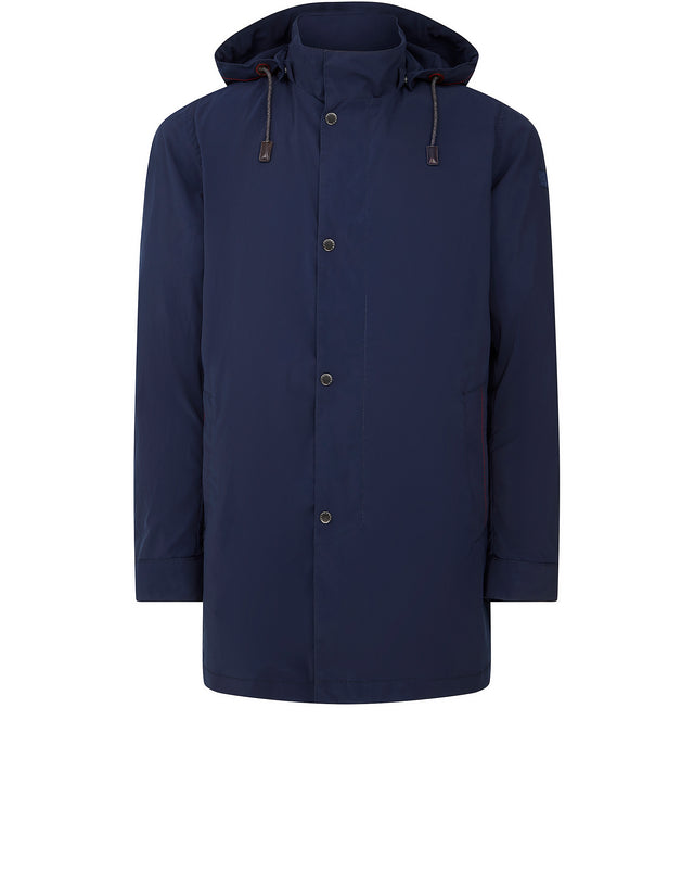 Hooded Three Quarter Coat in Blue