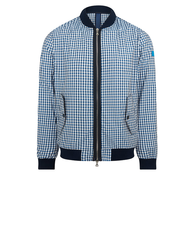 Nylon Check Bomber Jacket	in Blue Check